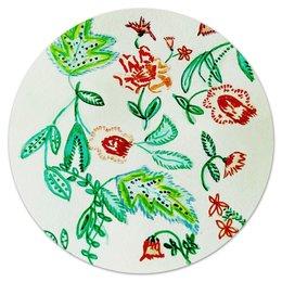 """Коврик для мышки (круглый) """"Дикие цветы"""" - цветы, листья, красные цветы"""
