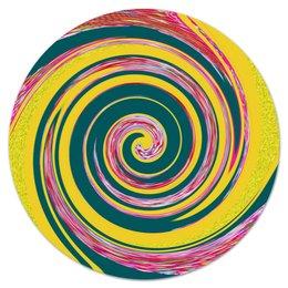 """Коврик для мышки (круглый) """"Спиральность"""" - спираль, желтый, зеленый, розовый, кольца"""