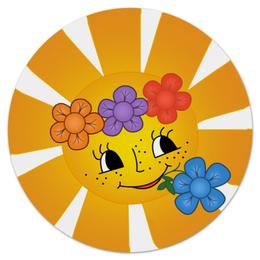 "Коврик для мышки (круглый) ""Весёлое солнышко"" - солнышко, улыбка, веснушки"