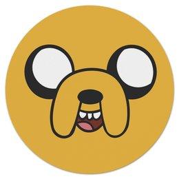 "Коврик для мышки (круглый) ""jake the dog"" - adventure time, время приключений, jake the dog"