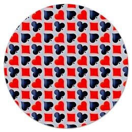"""Коврик для мышки (круглый) """"Карты"""" - карты, черно-красные, игры, символы, масти"""