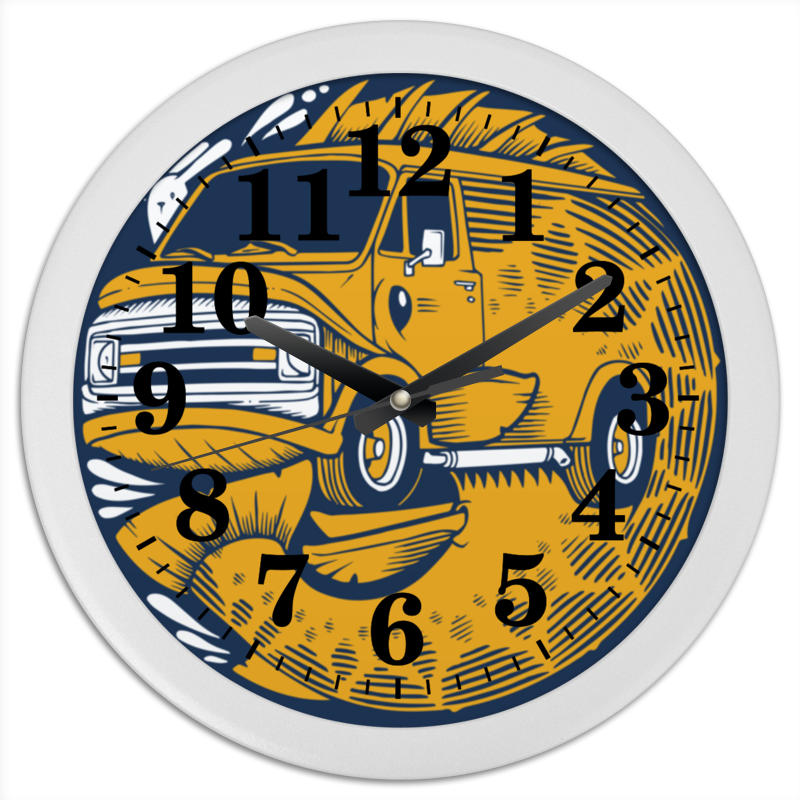 Часы круглые из пластика Printio Fish bus / рытобус (рыба автобус) сашими сырая рыба
