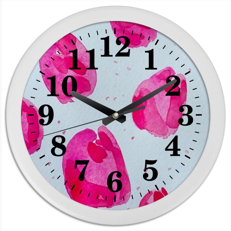 Часы круглые из пластика Printio Pink watercolor tulips tulips tools ip14 350