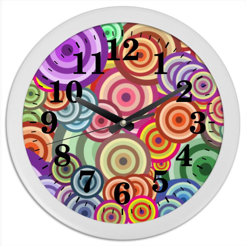 Часы круглые из пластика Printio Цветные круги все цены