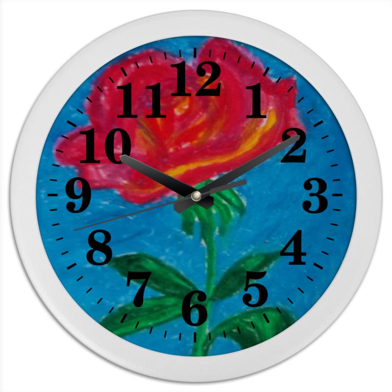 Часы круглые из пластика Printio Алая роза комплект семейного белья василиса нежная роза 4172 1 70x70 c рб