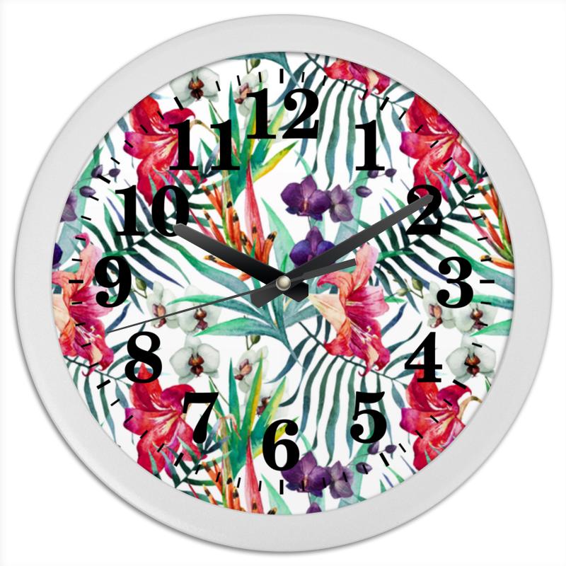Часы круглые из пластика Printio Тропические цветы