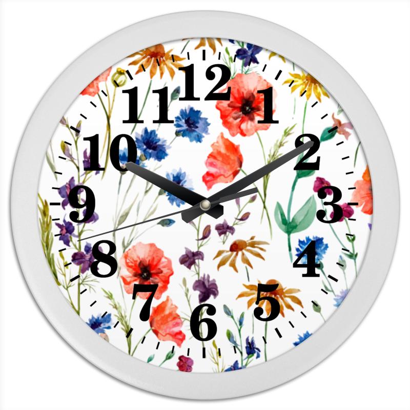 Часы круглые из пластика Printio Полевые цветы часы круглые из пластика printio горы сосны и цветы