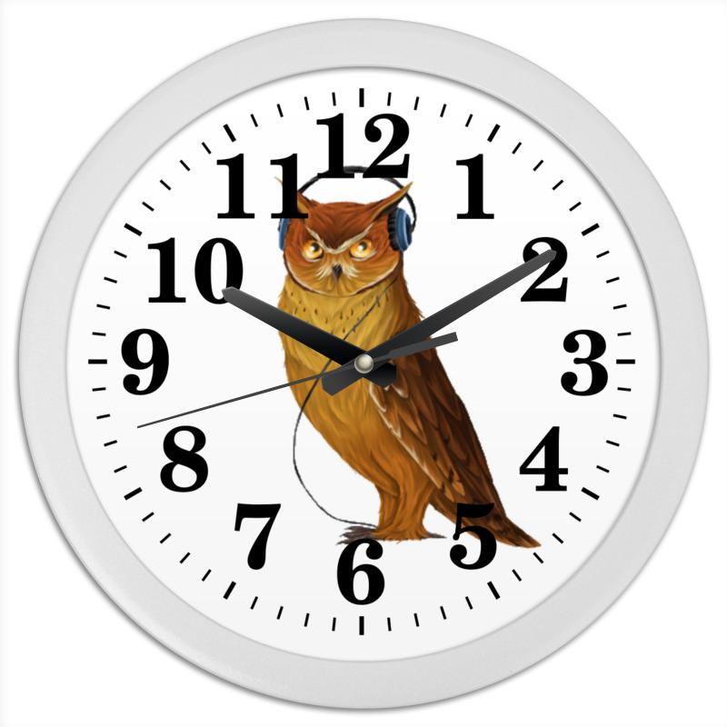 Часы круглые из пластика Printio Сова в наушниках часы круглые из дерева printio сова в наушниках