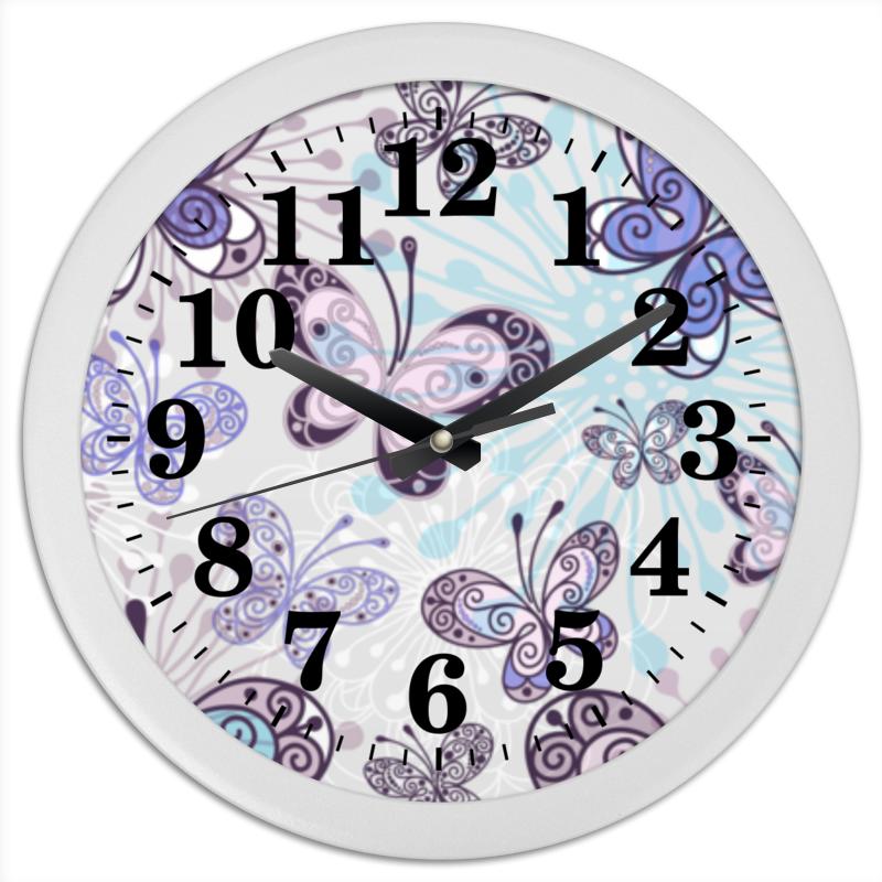цена на Часы круглые из пластика Printio Фиолетовые бабочки