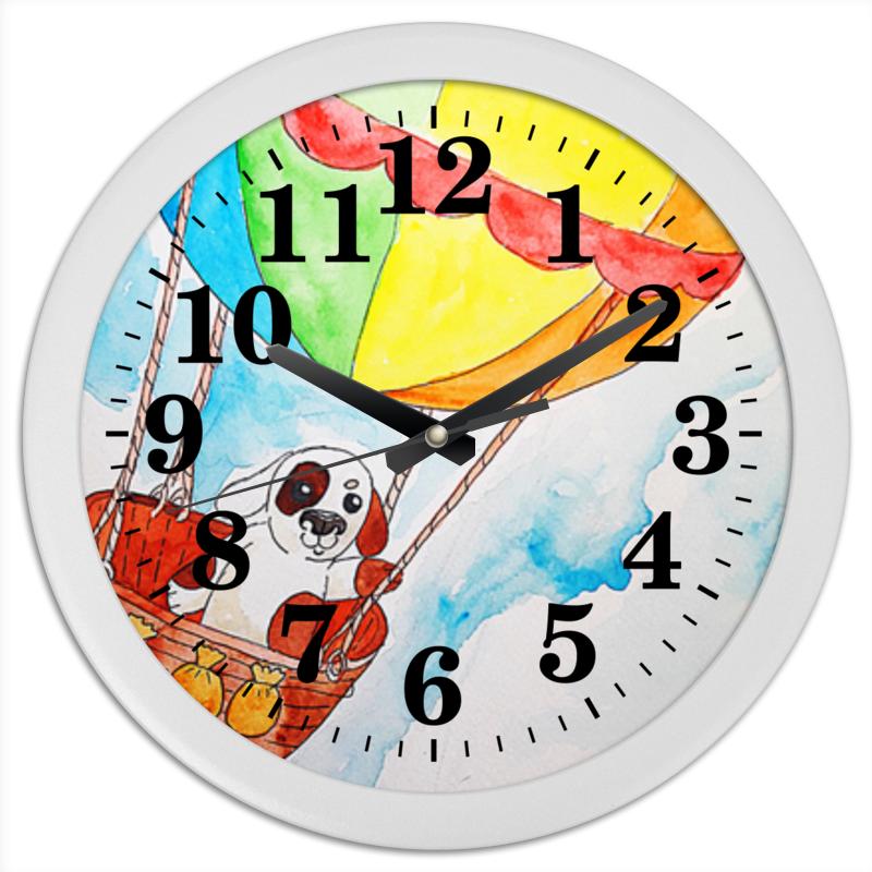 Часы круглые из пластика Printio Щенок на шаре