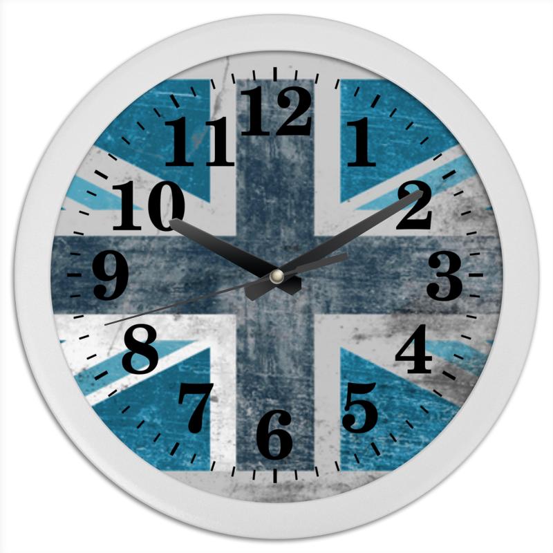 Часы круглые из пластика Printio Голубой флаг британии