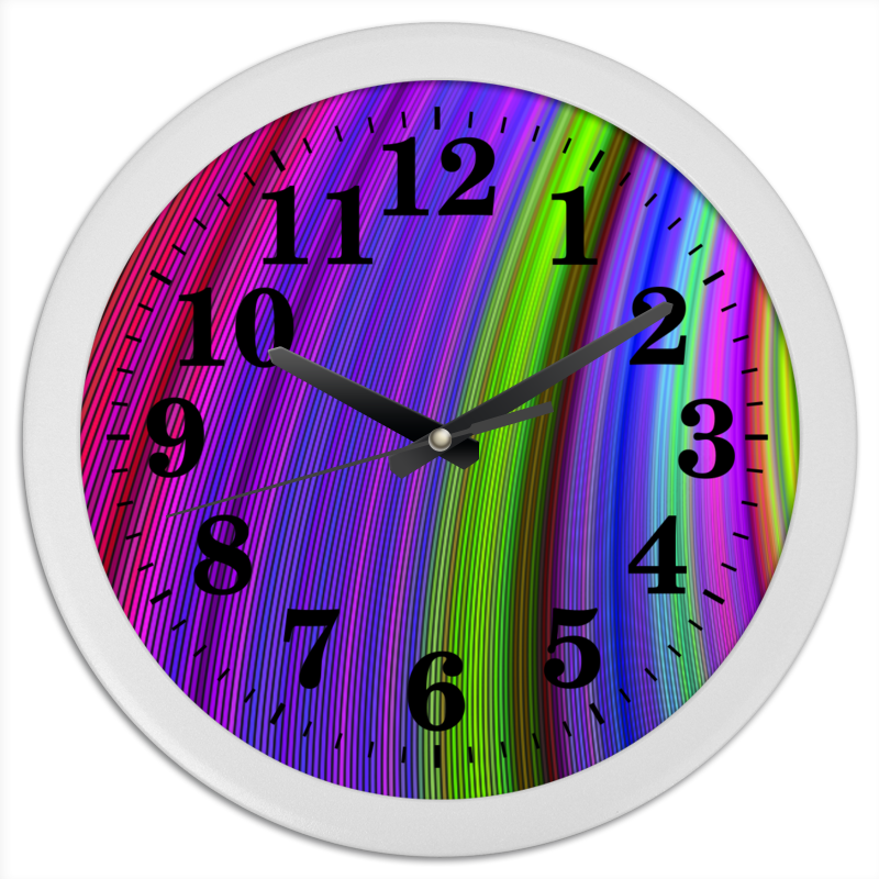 Часы круглые из пластика Printio Радужные