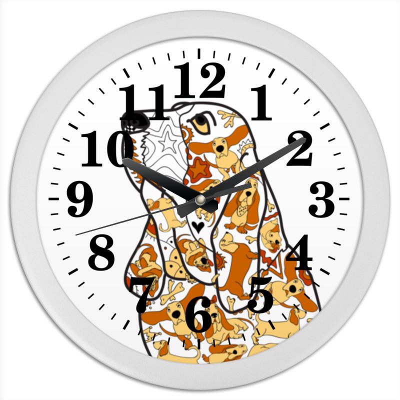 Часы круглые из пластика Printio Смешная собака бассет купить щенкак в донецке бассет