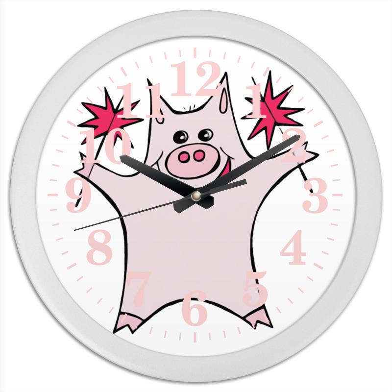 Часы круглые из пластика Printio Розовый поросёнок с бенгальскими огнями тетрадь на скрепке printio розовый поросёнок с бенгальскими огнями