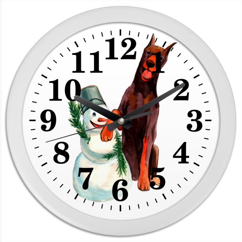 Часы круглые из пластика Printio Забавная акварельная собака, символ 2018 года часы круглые из дерева printio символ нового века