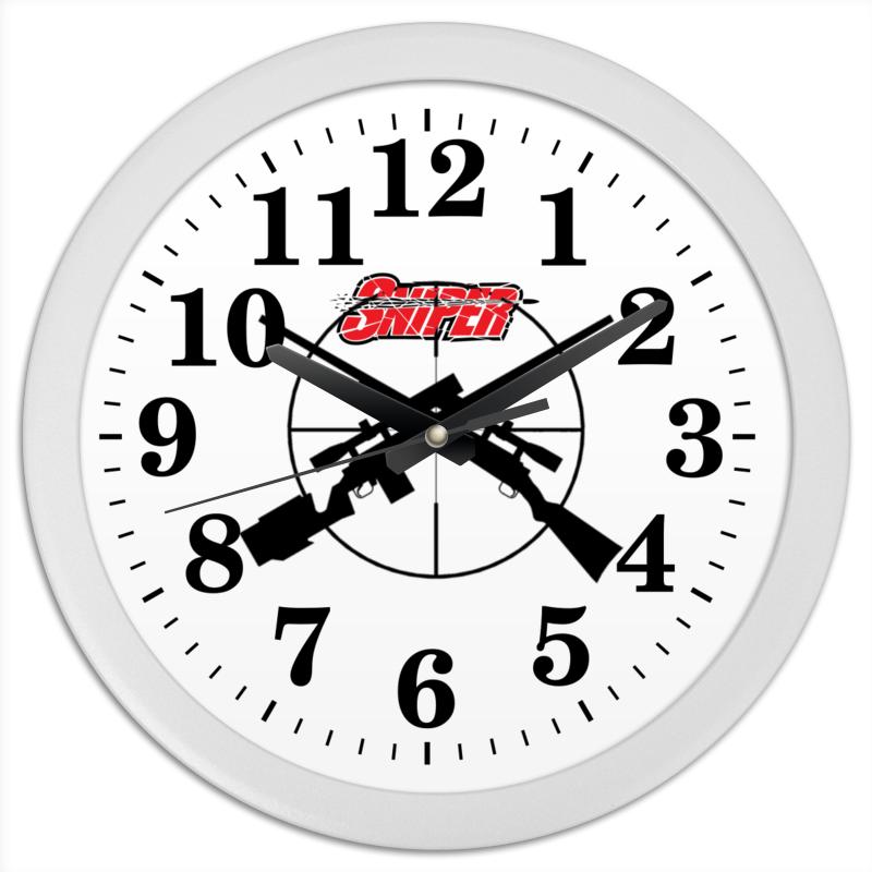 Часы круглые из пластика Printio Sniper