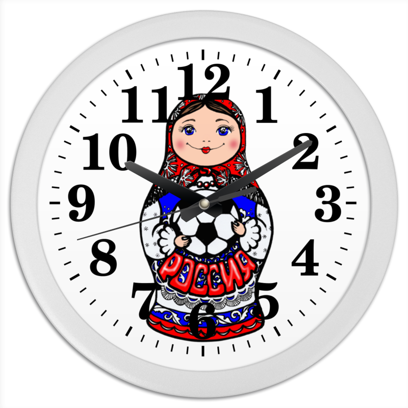 Часы круглые из пластика Printio Футбольная матрешка мр 20 49 матрешка 5м манютка сп