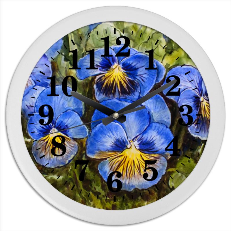 Часы круглые из пластика Printio  анютины глазки  набор эм 165 4ап2 анютины глазки 1157218