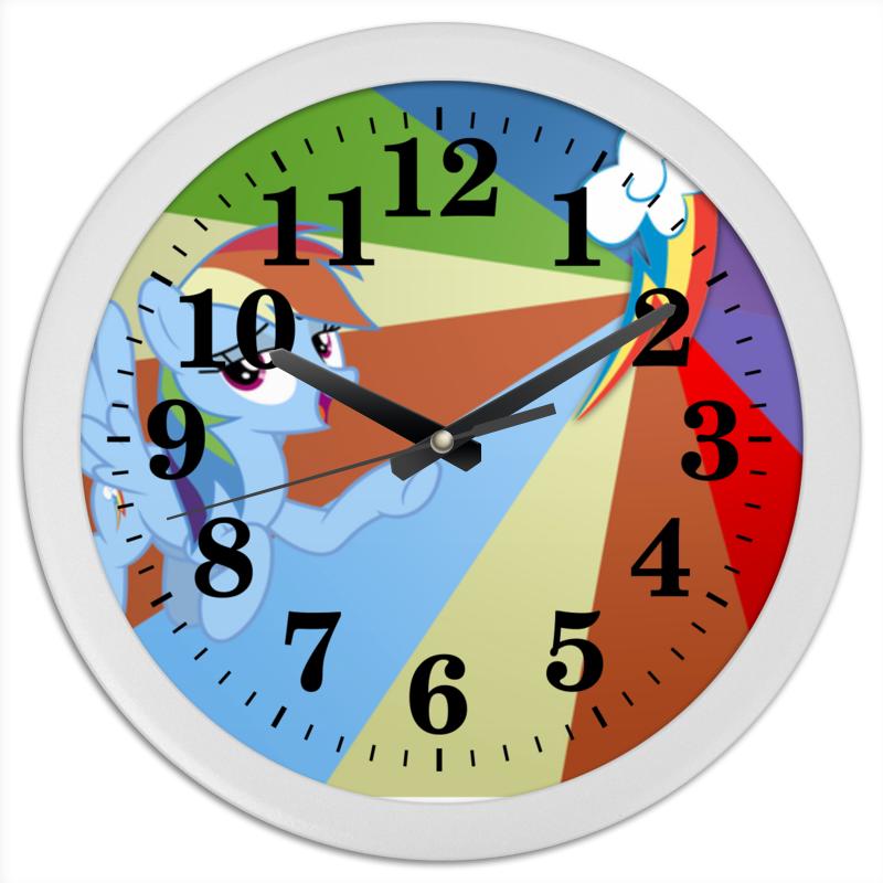 Часы круглые из пластика Printio Rainbow dash color line