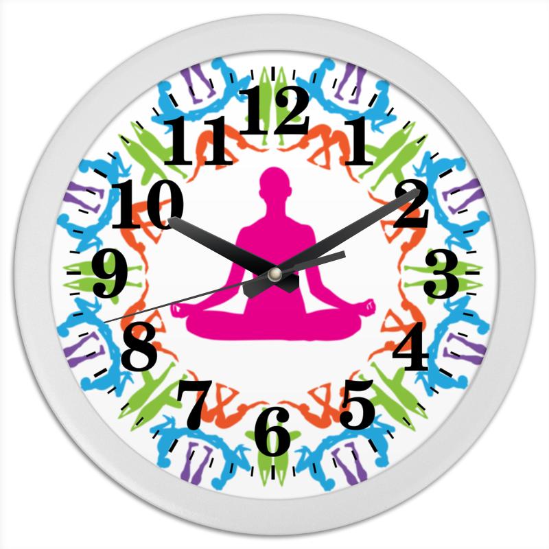 Часы круглые из пластика Printio Йога асаны цена