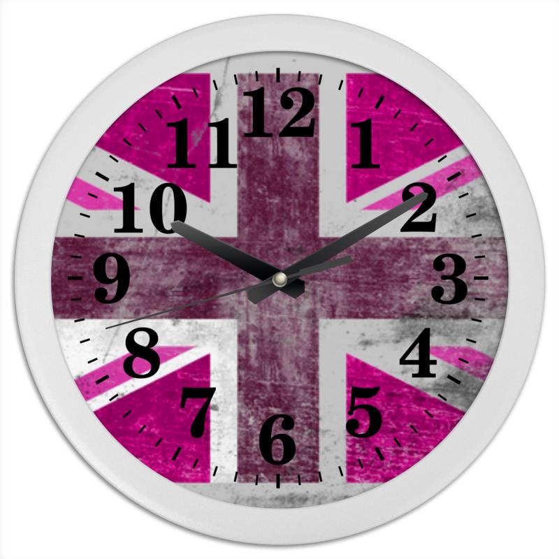 Часы круглые из пластика Printio Розовый флаг британии edison детский стакан из нержавеющей стали розовый 240мл