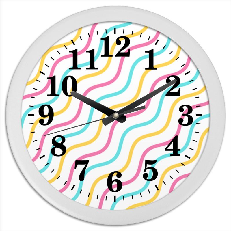 Часы круглые из пластика Printio Волны кабошоны из смолы имитации кошачьего глаза плоско круглые разноцветные 12x4 мм