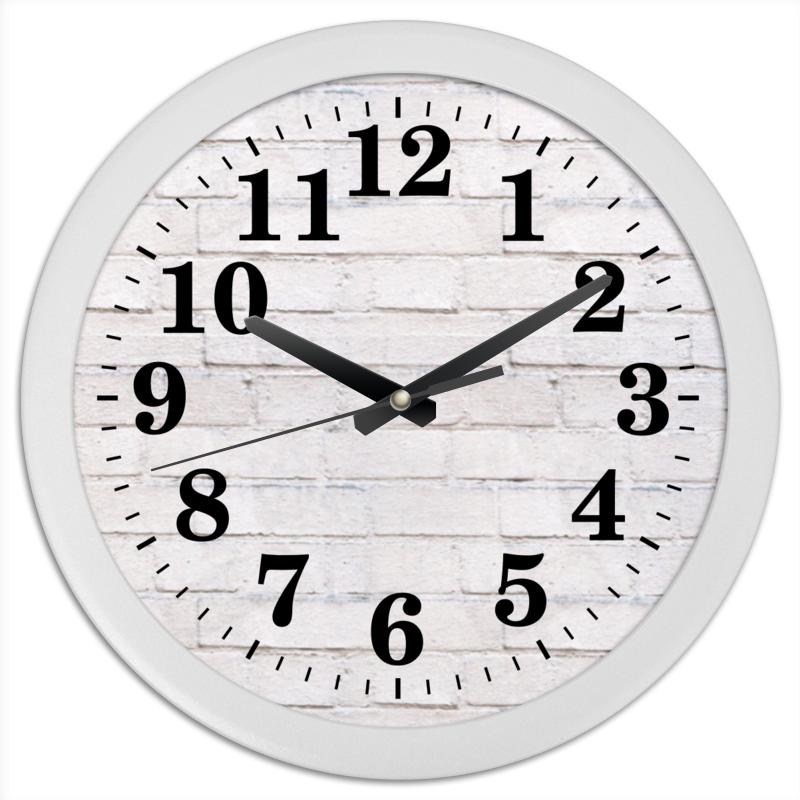 Часы круглые из пластика Printio Кирпичные часы круглые из пластика printio fish bus рытобус рыба автобус