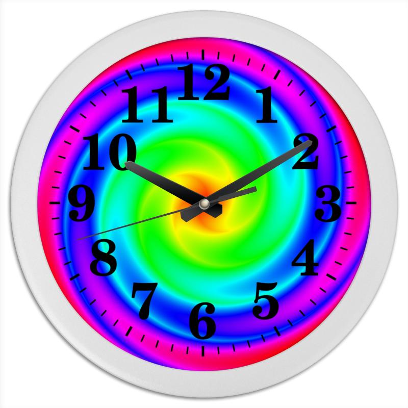 Часы круглые из пластика Printio Абстракция спираль