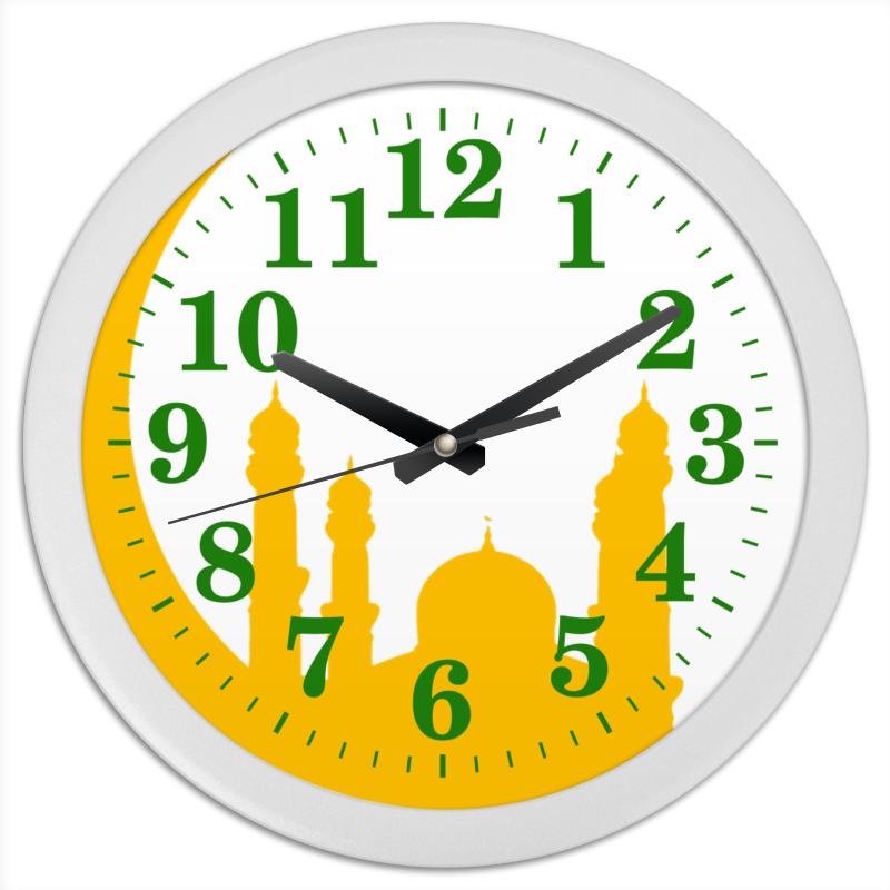 Часы круглые из пластика Printio Полумесяц с мечетями. цена
