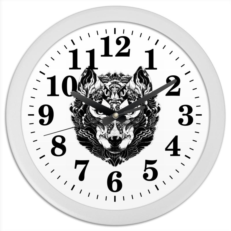 Часы круглые из пластика Printio Волк стилизация 2 часы круглые из дерева printio волк в лесу