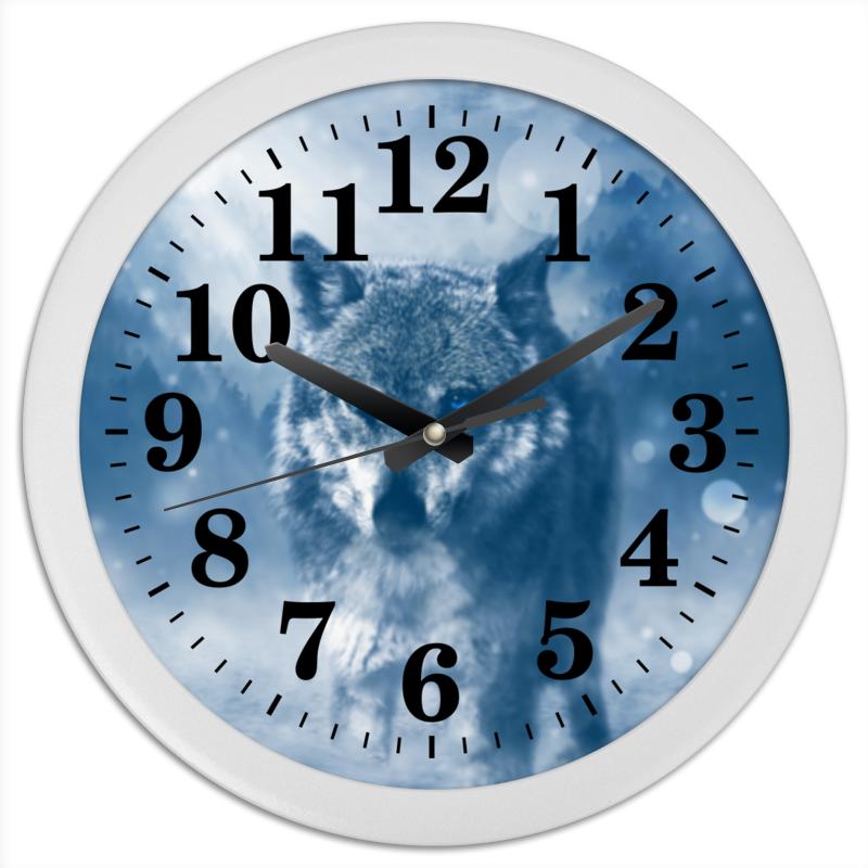 Часы круглые из пластика Printio Волк с голубыми глазами часы круглые из пластика printio серый волк