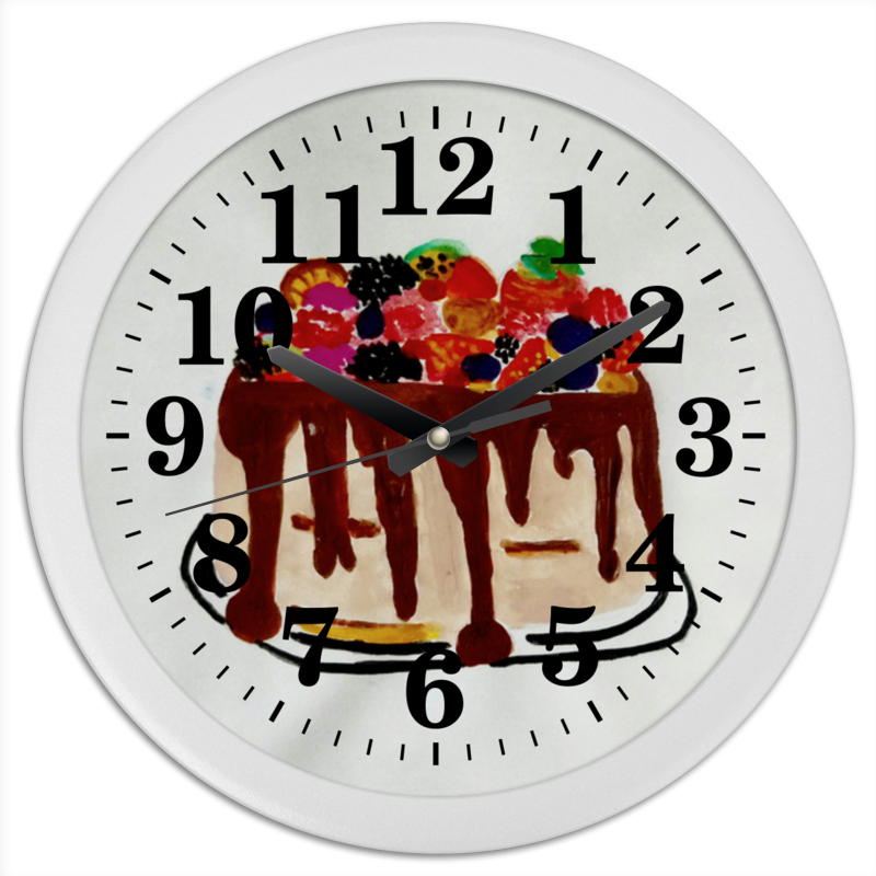 Часы круглые из пластика Printio Тортик просто вкусно праздничный стол