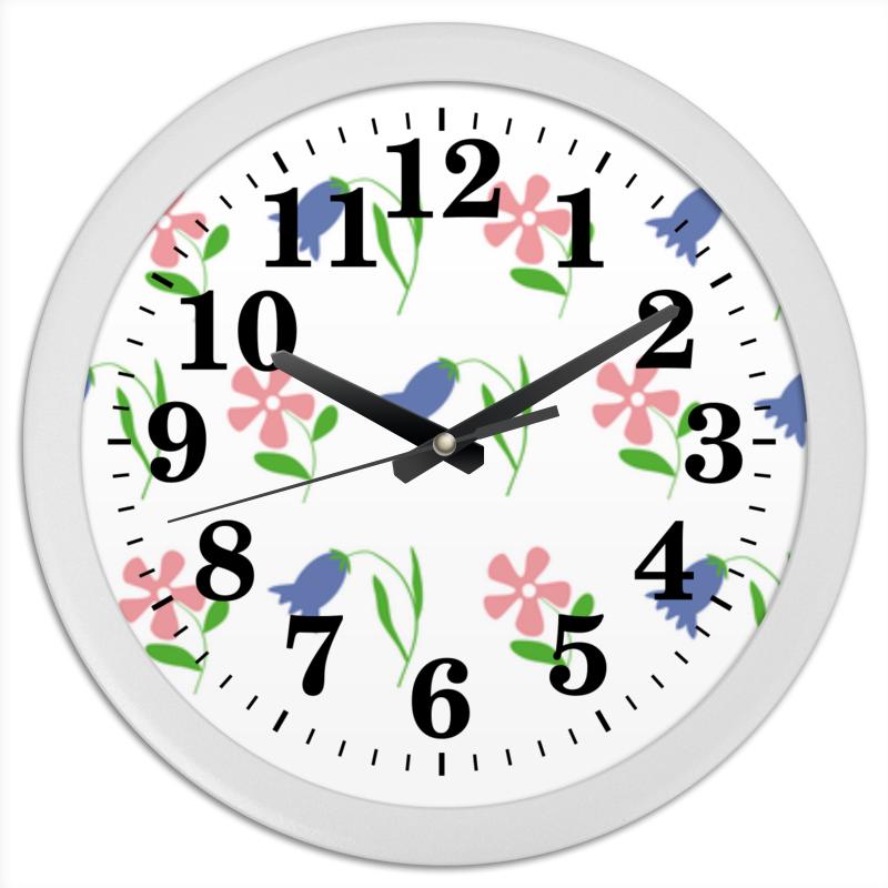 Часы круглые из пластика Printio Цветы полевые