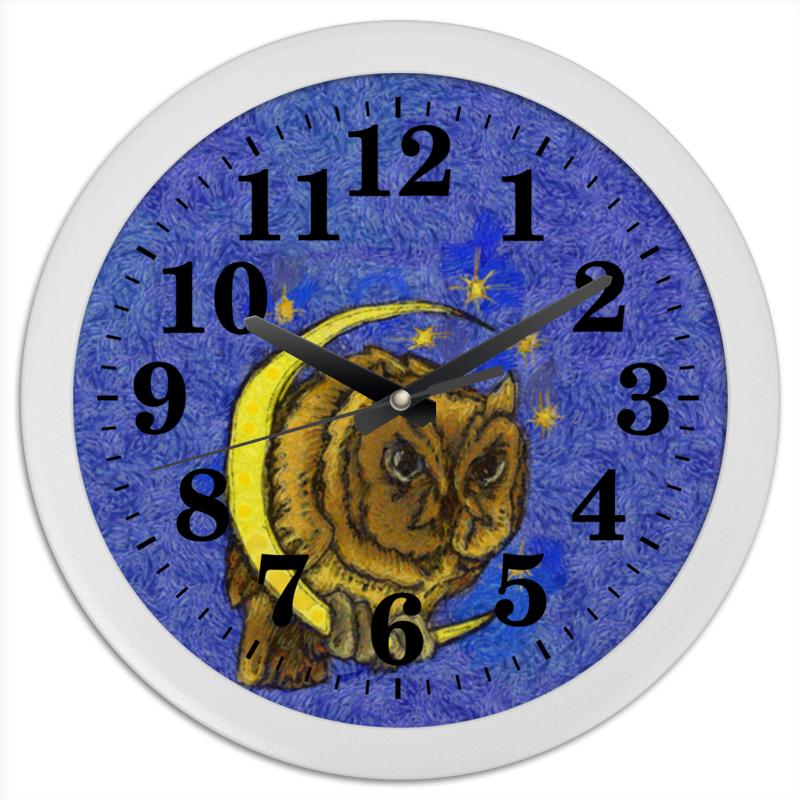 Часы круглые из пластика Printio Сова на луне часы круглые из дерева printio сова в наушниках