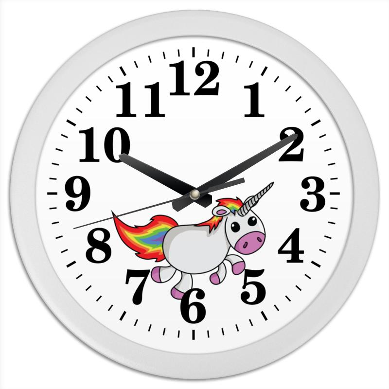Часы круглые из пластика Printio Единорог радужный каждый день банты каждый день 500г