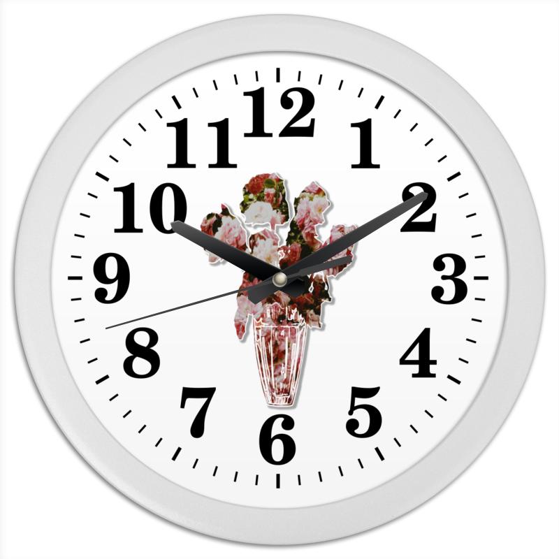 Часы круглые из пластика Printio Весенний букет роз