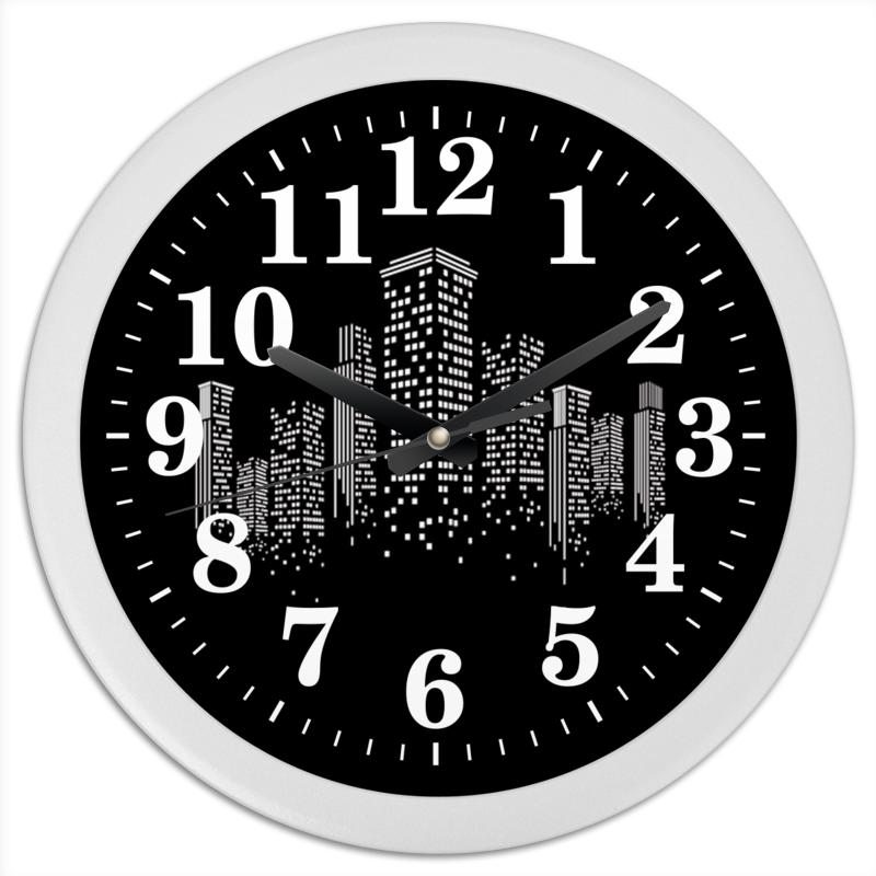 Часы круглые из пластика Printio Огни ночного города. марина белова золото ночного будапешта