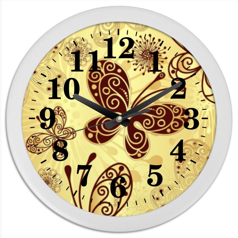 цена на Часы круглые из пластика Printio Бабочки
