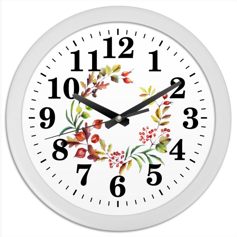 Часы круглые из пластика Printio Венок осенний