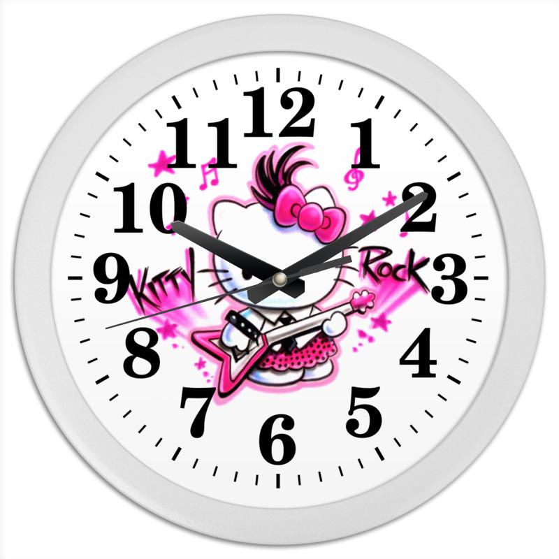 Часы круглые из пластика Printio Kitty rock