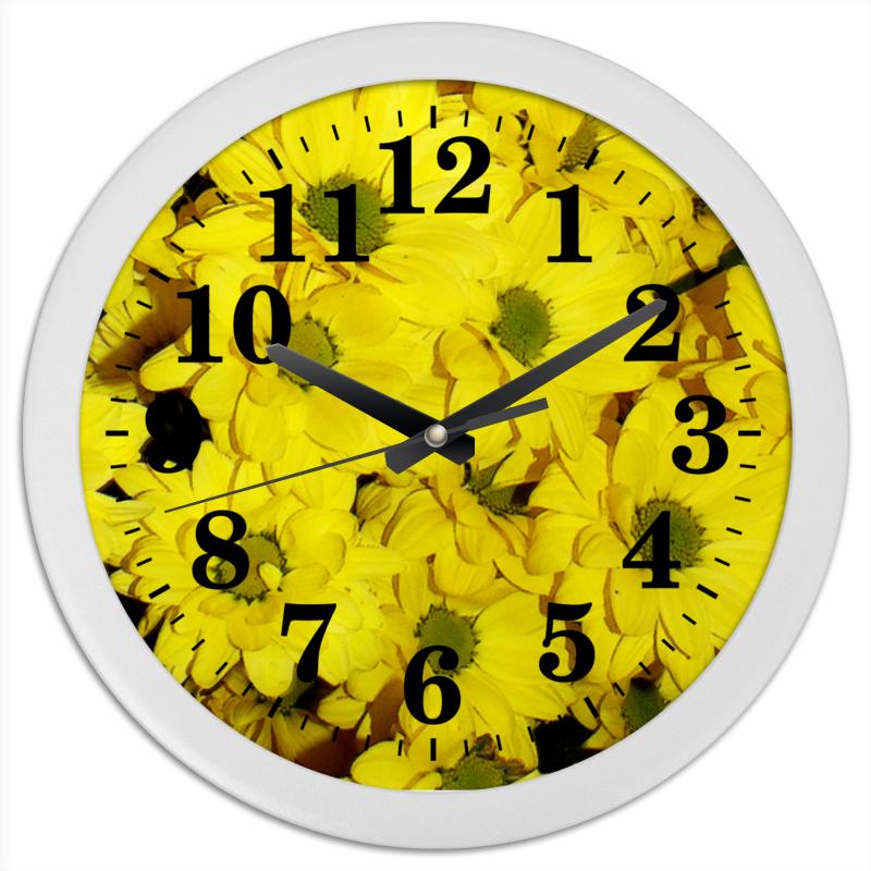 Часы круглые из пластика Printio Жёлтые хризантемы