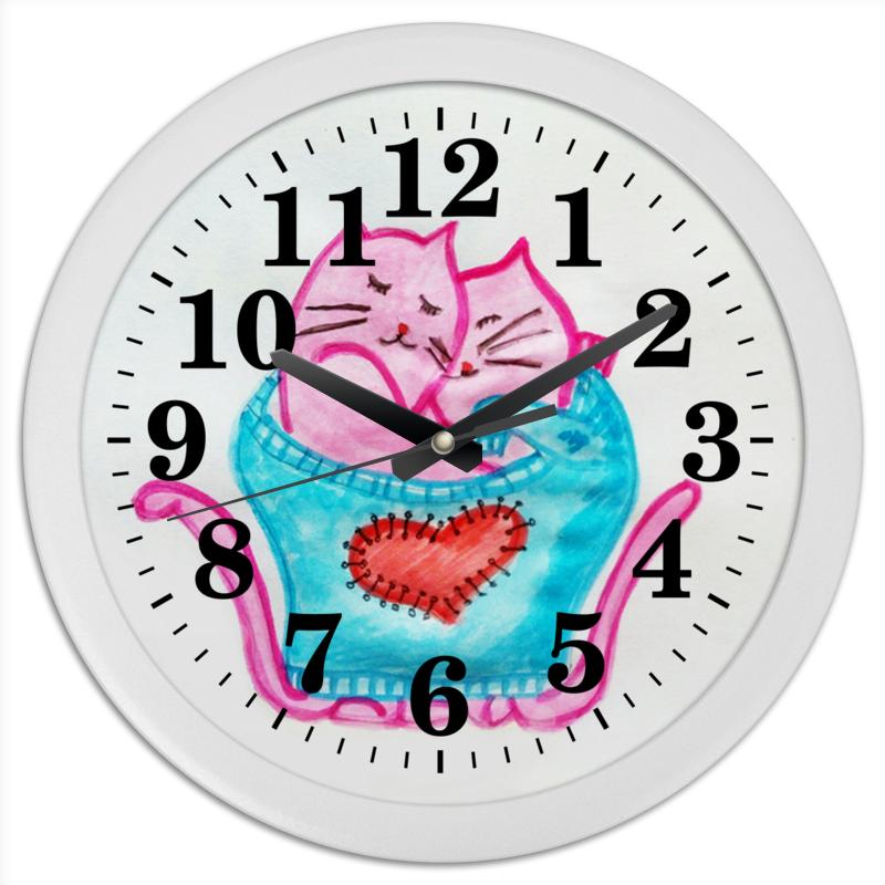 Часы круглые из пластика Printio Котики