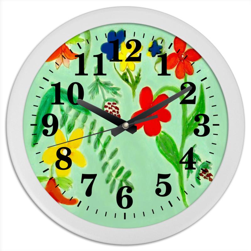 Часы круглые из пластика Printio Часы летние цветы