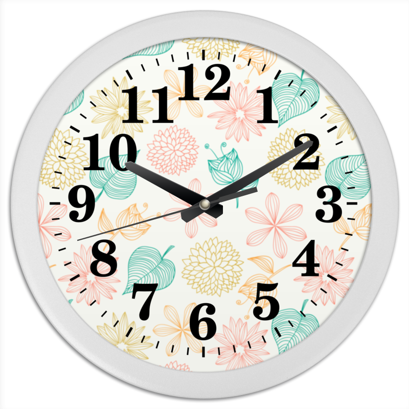 Часы круглые из пластика Printio Цветочные часы круглые из пластика printio fish bus рытобус рыба автобус