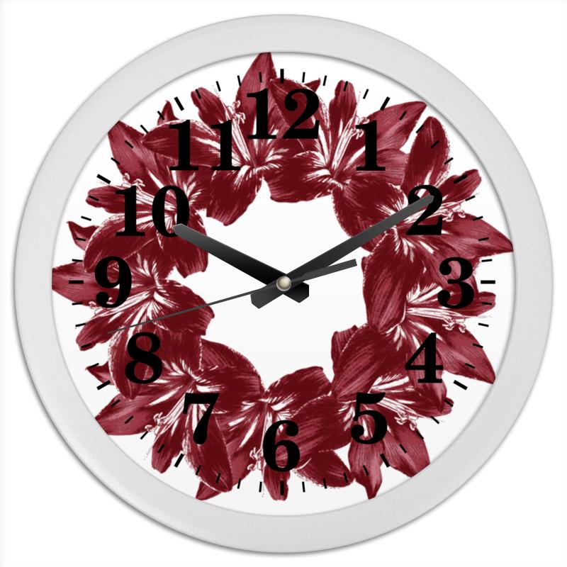 Часы круглые из пластика Printio Бордовая роскошь