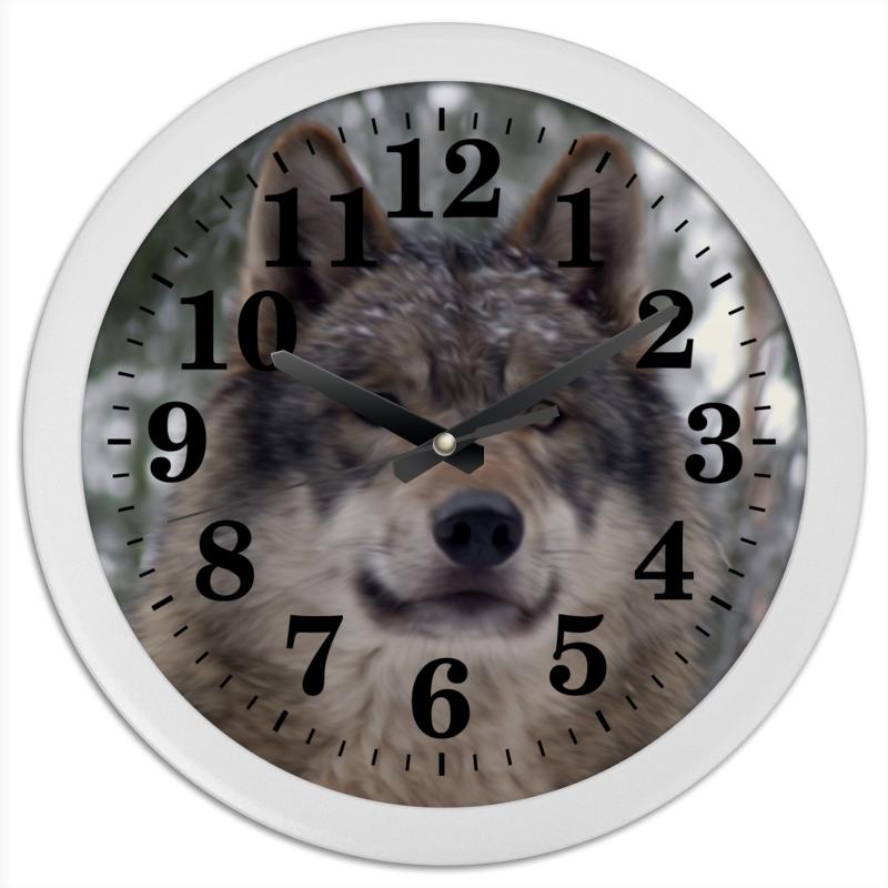 Часы круглые из пластика Printio Волк в лесу чехол для ноутбука 14 printio волк в лесу