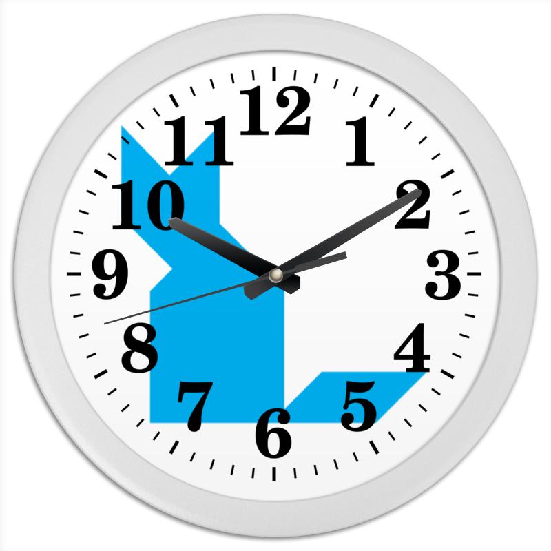 Часы круглые из пластика Printio Голубая кошка танграм