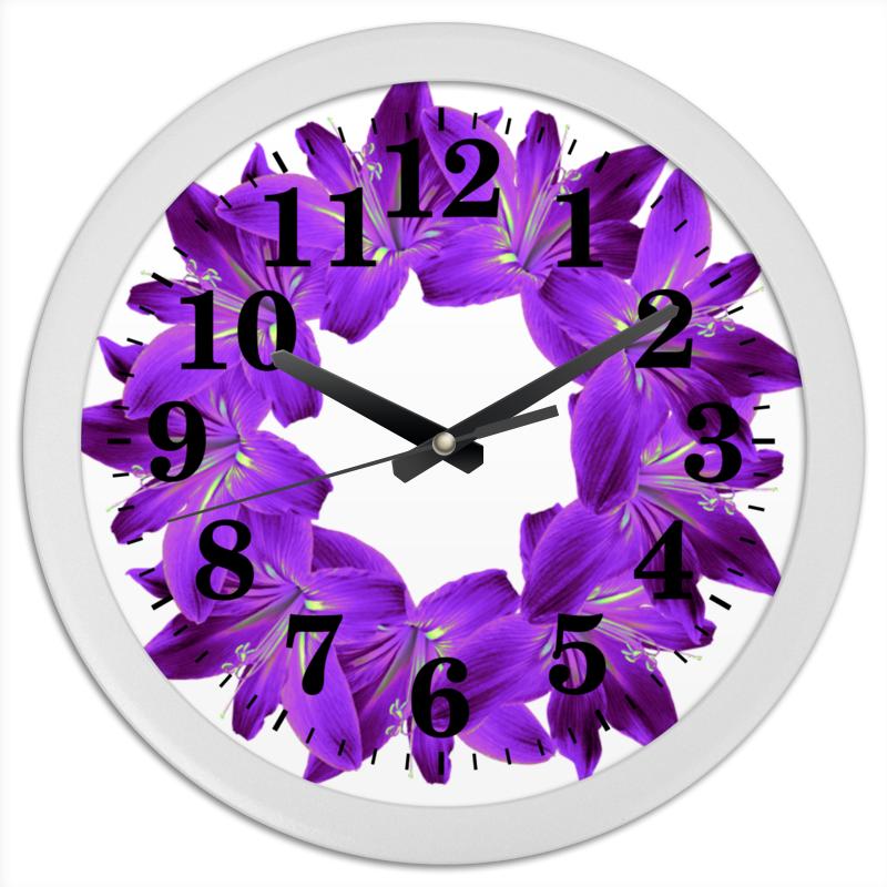 Часы круглые из пластика Printio Благородный сиреневый