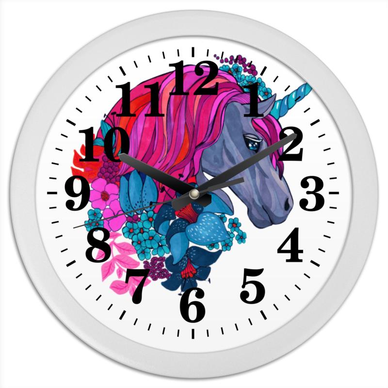 Часы круглые из пластика Printio Единорог с розовыми волосами в цветах конфеты круглые с ромом купить в иркутске