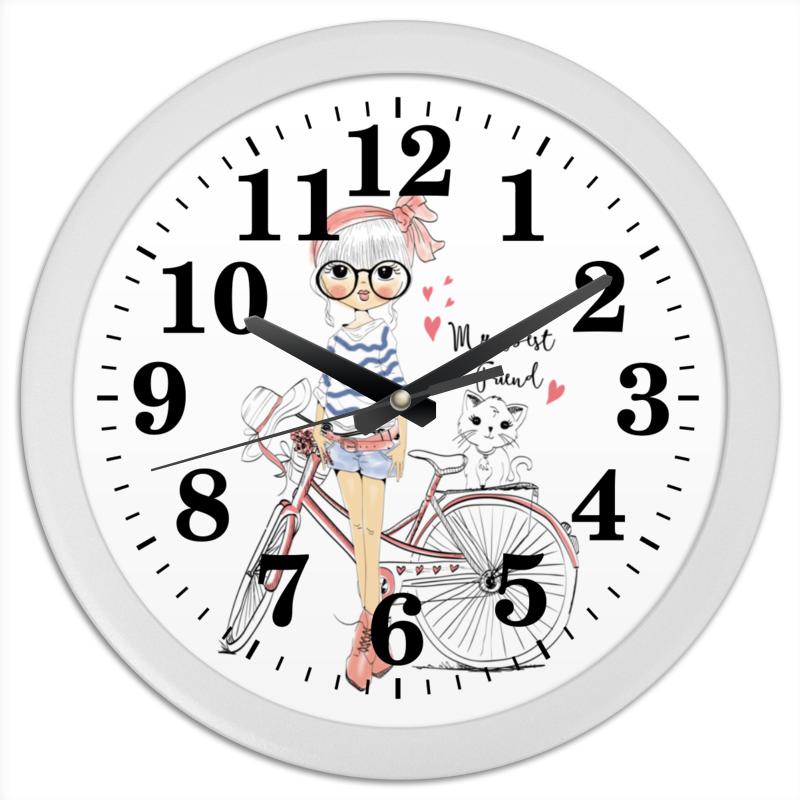 Часы круглые из пластика Printio Девушка и котёнок конфеты круглые с ромом купить в иркутске